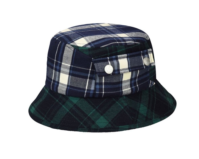 b76ec80aa8d5d3 Time to step up your plaid game! The Plaid On Plaid Bucket combines 2  complimentary plaid patterns that dissects the hat with diagonal seams on  the crown.