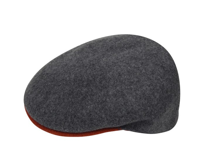 56c8c248 The Wool 504-S is a stiffened version of the iconic 504 by Kangol. It is  made from melange lambswool & has a different coloured peak with a  pre-curve.
