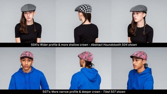 Multiple shots of the Kangol 504 and 507 on models
